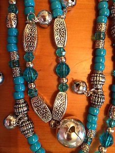 Rhythm Beads  - Horse Bling -  Necklaces for Horses - Teal Crystal - Teal