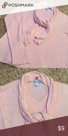 Light Pink Sweater w/ Attached Scarf Very pretty pastel pink sweater with attached scarf. Soft material. Great condition. jennifer moore Sweaters Crew & Scoop Necks