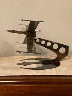 X-Wing Fighter On stand X Wing Fighter, Mike Jackson, Railroad Spikes, Metal Art Sculpture, Scrap Material, Junk Art, Welding Art, Yard Art, Unique Art