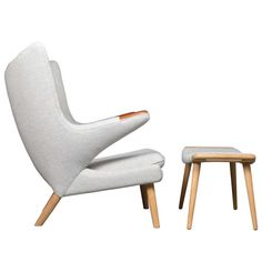 1stdibs   Papa Bear Chair & Ottoman with Rosewood Pawns by Hans J. Wegner