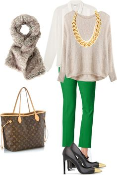 Green pants, sparkle sweater and a button up. Oh, and gold toe shoes!
