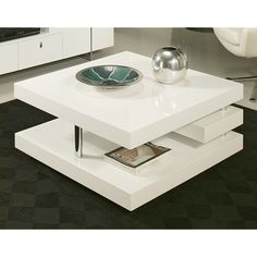 Add This Modern Coffee Table To Your Room For Some Added Character. It Is A  · White Coffee TablesSquare ...