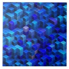 Blue 3D cubes abstract geometric pattern Large Square Tile