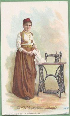Singer Sewing Machine's World, 1892, Bosnia Woman Trade Card