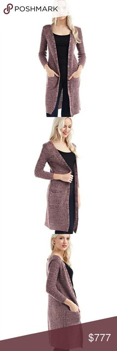 ❤NEW❤Cute long open cardigan Mauve Black front pockets long open cardigan Fabric: 100% Acrylic Made In Bangladesh Price firm Sweaters Cardigans
