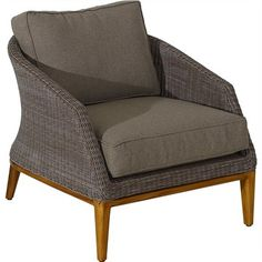 Sofia Wicker Single Seater Indoor/Outdoor Sofa with Teak Timber Legs and Fabric Cushions