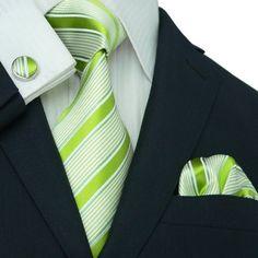 Landisun 14G Bright Green Stripes Mens Silk Tie Set: Tie+Hanky+Cufflinks Landisun, http://www.amazon.com/dp/B006U83U8K/ref=cm_sw_r_pi_dp_0qHfqb0ER27NQ