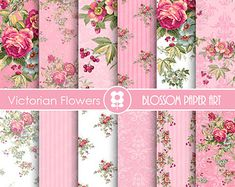 Teal Digital Paper Vintage Roses Shabby Chic by blossompaperart