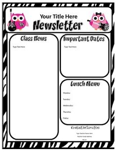 by queen of the jungle pre kindergarten grade are you looking for a quick easy newsletter template to send home to parents - Free Editable Newsletter Templates
