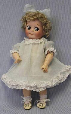 "Johann Daniel Kestner company (fl.1860-1941) — 11"" Kestner JDK Big Blue Googly Eyes Slant Hip Toddler 221, c.1910 (526x850)"