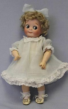 "Johann Daniel Kestner company (fl.1860-1941) —   11"" Kestner JDK Big Blue Googly Eyes Slant Hip Toddler  221,  c.1910   (526x850)"
