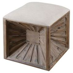 """Featuring a fir wood frame and inverted panels, this eye-catching cube ottoman is a stylish addition to your living room seating group or master suite ensemble.   Product: OttomanConstruction Material: Fir wood and linenColor: Beige and brown Features: Inverted panels Dimensions: 19"""" H x 17"""" W x 17"""" D"""