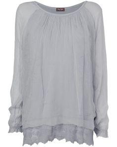 Padma Lace Trim Silk Blouse