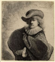 Rembrandt, Self-Portrait in Soft Cap and Embroidered Cloak, signed Rembrandt f. and dated RHL 1631, etching, 148 x 130 mm. British Museum, London, inv. no. F,4.9 (artwork in the public domain) Photo: British Museum
