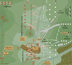 Battle of Waterloo, 1815. Map of battle at Plancenoit.