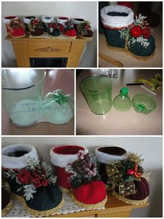 Christmas planter from 2l bottle! Great gift idea!  Fill with candy/gifts or a pointsetta