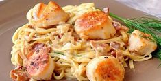 The most popular pan seared scallops with bacon recipe ever on Rock Recipes. Folks just love the luscious bacon cream sauce. A great romantic dinner for Shellfish Recipes, Seafood Recipes, Pasta Recipes, Dinner Recipes, Cooking Recipes, Seafood Meals, Rock Recipes, Bacon Recipes, Polenta
