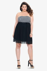 Black Polka Dot Chiffon Strapless Dress | Dresses