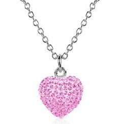 925 Sterling Silver Heart 1 inch Size Pink Cz Necklace. 5.00 Carat Cubic Zirconia Crystal Stones. Diamond Color. Includes 16 inch Chain Necklace & Pendant Collection. $0.01