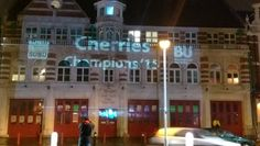 We even put a congratulatory message on the SUBU Old Fire Station. Bournemouth University, Afc Bournemouth, Fire