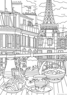 Paris - Printable Adult Coloring Page from Favoreads (Coloring book pages for adults and kids, Coloring sheets, Coloring designs) - Architecture Train Coloring Pages, Printable Adult Coloring Pages, Flower Coloring Pages, Coloring Pages For Kids, Coloring Sheets, Coloring Books, Kids Coloring, Mandala Coloring, Coloring Pages For Adults