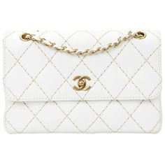 Preowned 2000s Chanel White Quilted Lambskin Heavy Stitch Single Flap... (10.500 RON) ❤ liked on Polyvore featuring bags, handbags, structured shoulder bags, white, white quilted handbag, shoulder strap handbags, chanel purse, white shoulder bag and shoulder bag