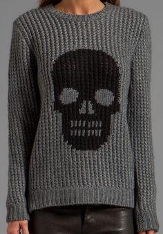 Handknit Skull Crew Sweater