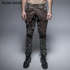 double color hip-pop thick inelastic pocket punk pants