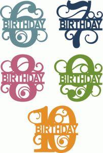 View Design #66657: split flourish birthday numbers 6-10