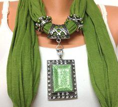 green jewelry scarf