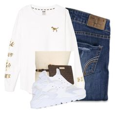 """""""Untitled #2451"""" by itzmealisia ❤ liked on Polyvore featuring Hollister Co., Victoria's Secret, Michael Kors and NIKE"""