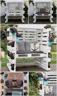 Wood Pallet Enclosed Seating Area with Comfy Cushions – Garden Furniture – Garden Projects Diy Garden Furniture, Diy Pallet Furniture, Diy Pallet Projects, Rustic Furniture, Furniture Ideas, Antique Furniture, Wood Projects, Furniture Stores, Cheap Furniture