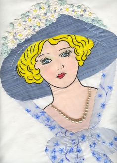 Silk applique, vintage pearls and lazy daisy silk ribbon flowers on my Daisey Mae pillow