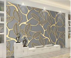 D Gold Leaf Design Wallpaper Wall Mural For Home Or Business - Unique D Golden Leaves Pattern Wallpaper Mural Gold Leaf Design For Your Home Or Business Creative Wall Art Decor Can Be Customized To Your Room Size Shipping Is Free Worldwide Wall Art Wallpaper, Pattern Wallpaper, Wallpaper For Home, Forest Wallpaper, Golden Wallpaper, Unique Wallpaper, Textured Wallpaper, Textured Walls, Ceiling Design