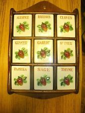 Vintage Wooden Spice Rack with 9 Ceramic Drawers with Strawberry knobs