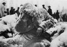 This Russian soldier sat on the ground and tried to rest his head on his hand. This momentary loss of motion was enough to cause him to freeze in sub minus 40 celsius, the usual temperature in the Finnish forest during the winter 1939-40. Similar remains could be found by the thousands in the frozen forest.