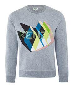 Kenzo Sweatshirts, Price: GBP 205.00, Grey Twin Peaks Embroidered Logo Sweatshirt