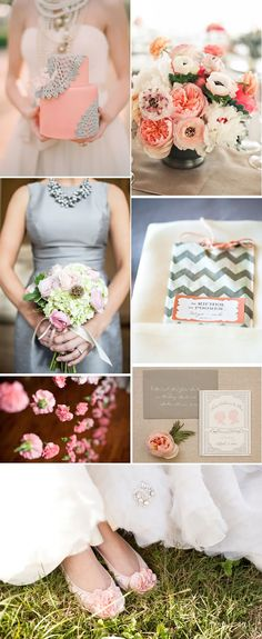 Love this color combo. Summer Color Scheme: Blush + Gray   WeddingWire: The Blog