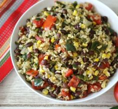 Vegetarian Mexican Rice Bowl - A light, healthy rice dish made with Mexican spices, fresh poblano peppers, tomatoes and corn. A super quick, easy meal that is perfect for a side dish or main meal.
