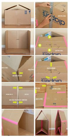 Easy to make cardboard playhouse // Turn a cardboard box into hours of entertainment for your little ones with this DIY collapsible playhouse. This cardboard playhouse was created, especially with small spaces in mind, because when the kids tire of it, th Cardboard Playhouse, Cardboard Toys, Cardboard Box Houses, Cardboard Furniture, Cardboard Gingerbread House, Diy Projects Cardboard Boxes, Cardboard Houses For Kids, Cardboard Box Storage, Cardboard Dollhouse