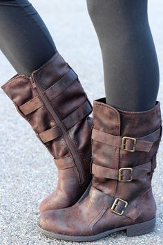 Charlie Three Buckle Suede Wash Mid-Calf Boots
