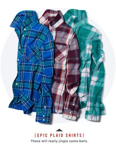 Women's Epic Plaid Shirts. I love plaid flannel for winter. Flannel shirt, skinny jeans, boots - bam! Stylish and comfy.