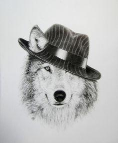 """Saatchi Online Artist Mark Liam Smith; Drawing, """"Fedora Wolf"""" #art"""