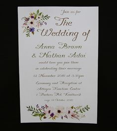 Looking for wedding invitations that will wow your guests? Check out these simple printed floral watermark wedding invites online with many different invitation designs and we can help with invitation wording. Weather you need to order invitations, diy invitations, just need invitation ideas, we can help with handmade wedding invitations, printed invitations, simple and elegant invitations and wedding cards.
