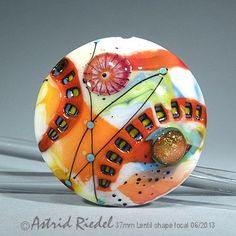 The red Zipper abstract- Art Glass 37mm Focal bead- lampwork by Astrid Riedel