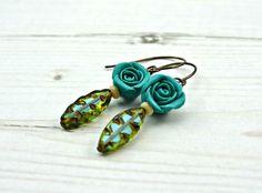 Turquoise Rose Earrings £10.00