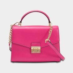 6894ccd8e30b MICHAEL Michael Kors Sloan Medium Double Flap Top Handle Satchel Bag in  Ultra Pink Polished Leather