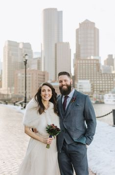 Who says you can't get married outside in the middle of winter in New England? This couple loved having a January winter wedding! Don't you love the bride's stole? It does perfectly with her sparkly, flowy dress. They wore comfy boots to walk and changed into heels for the best photo-ops. If you're looking for a Boston City Hall elopement photographer, you gotta check out Lena Mirisola! She knows all the best spots for city photos like the beautiful Seaport Harborwalk! City Hall Wedding, Wedding Day, Got Married, Getting Married, Boston City Hall, Winter Weddings, Wedding Moments, Beautiful Couple, Hair Pieces