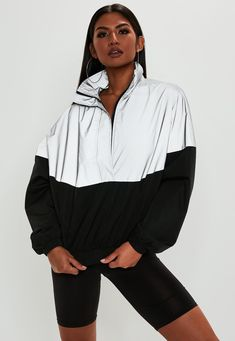 Love the coat- Missguided - Silver Reflective Colour Block Windbreaker Jacket Sporty Outfits, Retro Outfits, Trendy Outfits, Rave Outfits, Vaporwave Clothing, Windbreaker Outfit, Coats For Women, Clothes For Women, Looks Style