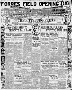 """On June 30, 1909, Forbes Field opened the home of the Pittsburg Pirates (this was during the time the """"h"""" had been dropped from the end of Pittsburgh). At the time, it was the largest stadium in the world. An article in the Pittsburg Press stated: """"It was difficult to estimate the attendance, for Forbes Field is so immense - so far beyond anything else in America in the way of a baseball park - that old experts, accustomed to judging crowds at a glance, were at a loss for reasonable…"""